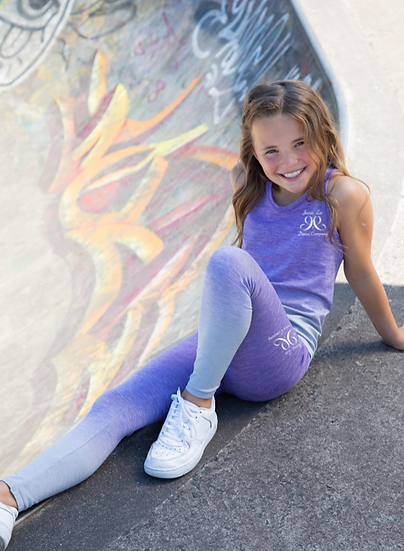 Kids Seamless Fade Out Leggings - Purple/Light Grey Marl