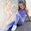 Thumbnail: Kids Seamless Fade Out Leggings - Purple/Light Grey Marl
