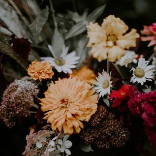Garden bouquet of warm toned autumn flowers