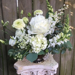 White and green spring centerpiece