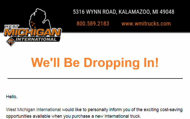West Michigan Int'l Dropping In email -
