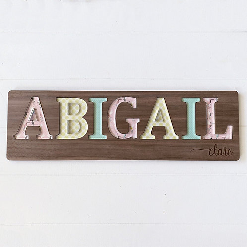 Whimsical Birds Wooden Name Puzzle with Engrave