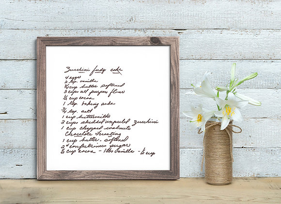Framed Handwritten Recipe Sign