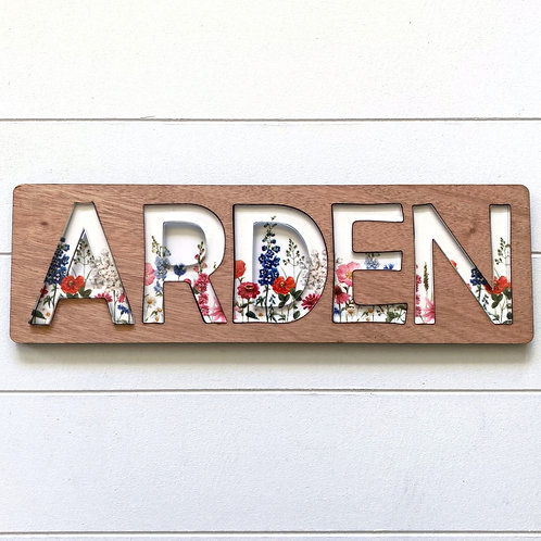 Among the Wildflowers Wooden Name Puzzle