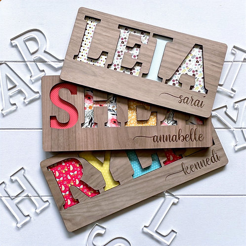 Floral Wooden Name Puzzle with Engrave