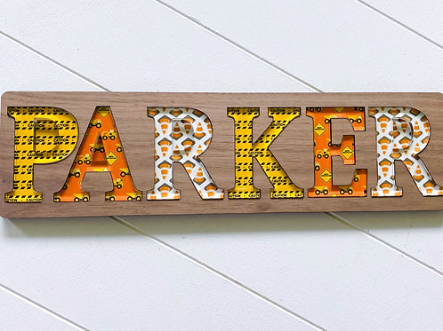 Construction Wooden Name Puzzle