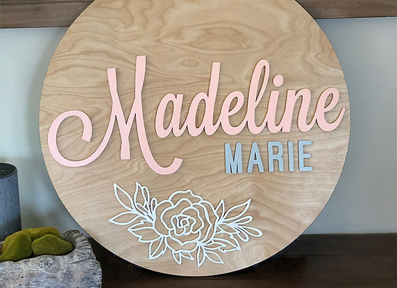 Floral Simplicity Name Sign