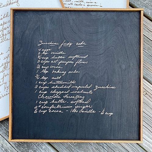 Engraved Actual Handwriting Recipe Sign