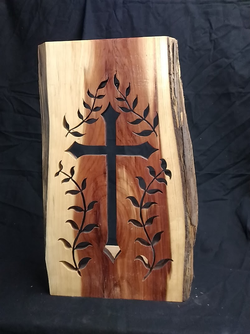 Scroll-cut Cross On Eastern Cedar