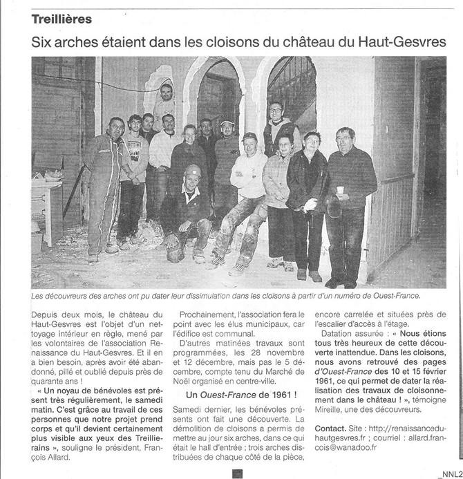 Article Ouest France du 27 novembre 2015 .