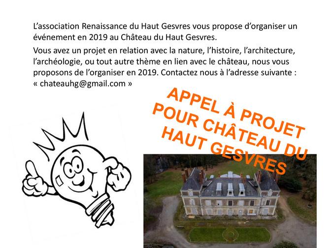 Appel à projet pour le Château ...