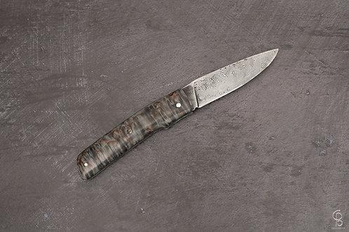 Couteau Damas œil d'Odin et en Bouleau de Carélie