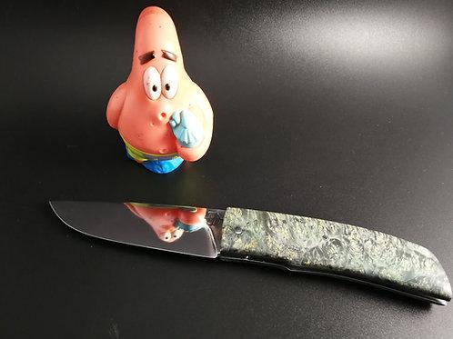 couteau pliant carbone, manche loupe d'érable