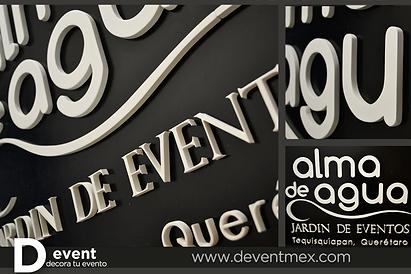 Jardin de Eventos Alma de Agua Logotipo Jeep Gigante D-Event D Event DEvent Letras Gigantes 3D