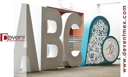 Logotipo Gigante Congreso ABC Latinoamericano de Bodas y Eventos Especiales DEvent D-Event D Event Letras Gigantes Corazon 3d