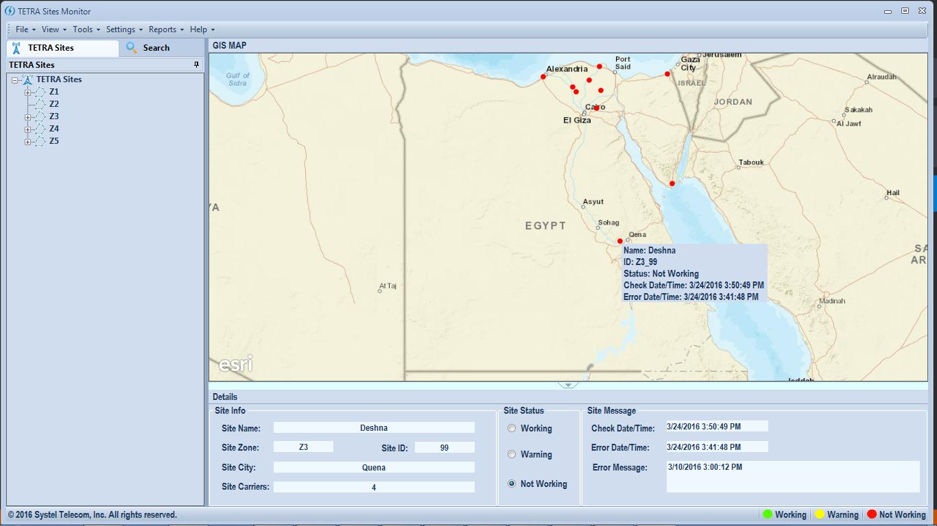 TETRA Sites Monitoring Application 1