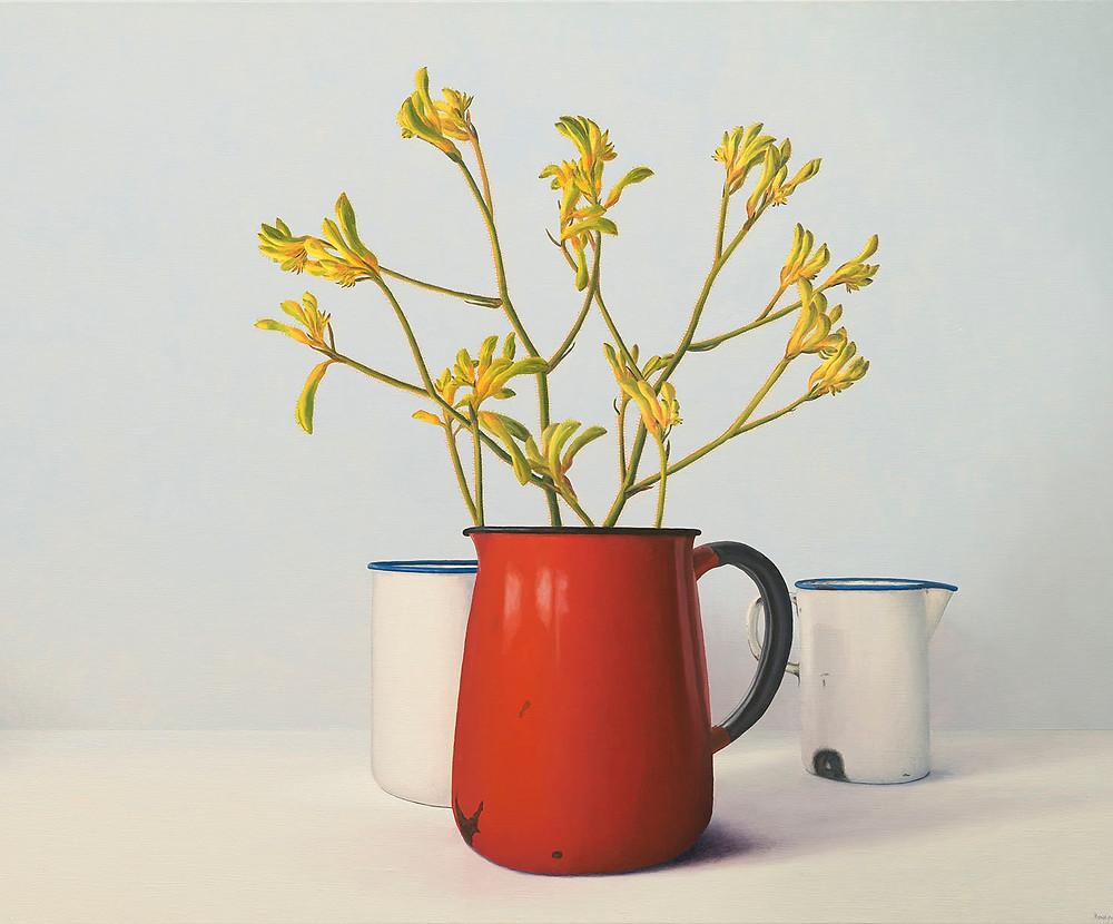 John Honeywill, Red jug and kangaroo paw, Philip Bacon Galleries