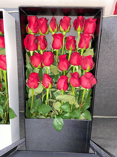 Red Roses With Black  Flower Box