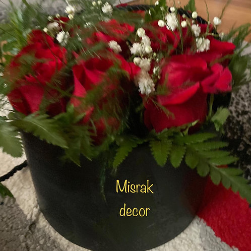 Red Rose's with Baby's Breath and Greenery arrangement with black box