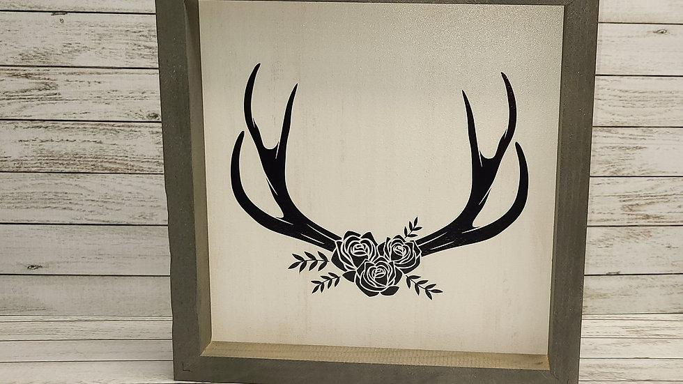 Antler Wooden Sign