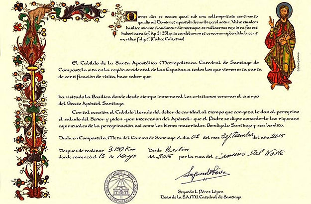 Camino de Santiago certificate of distance