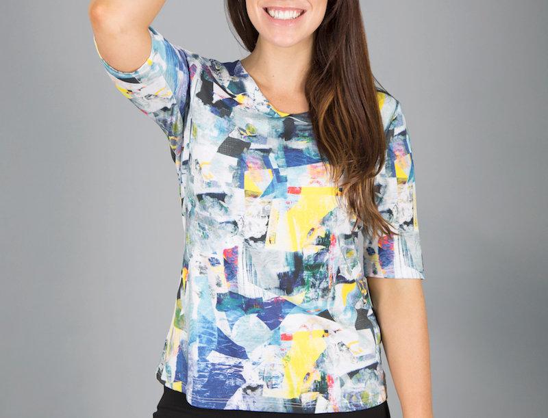 Black Plum Geometric Print T-Shirt