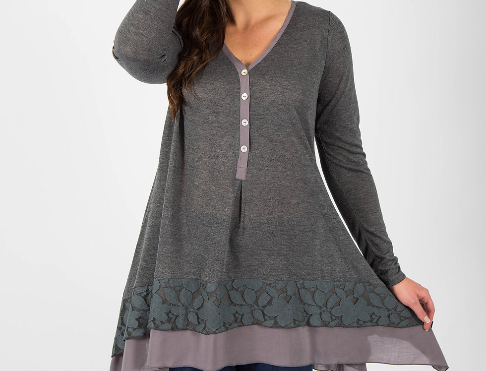 Black Plum Lace Trim Tunic