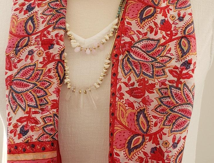 Garden Print 100%Silk Scarf
