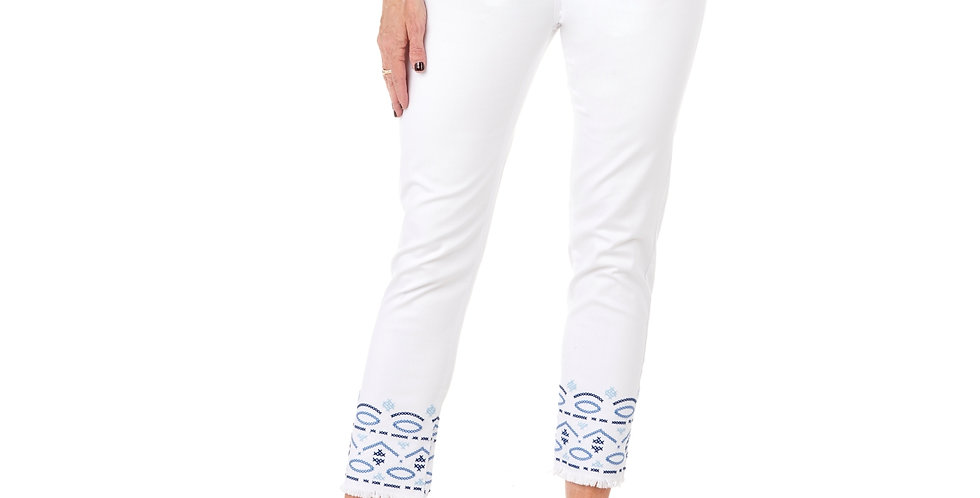 Cafe Latte Stitched White Jeans