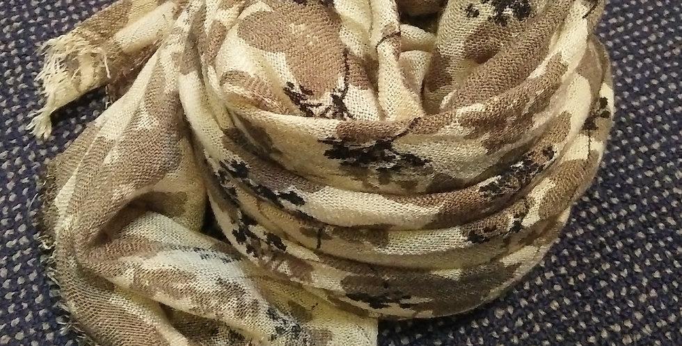 Wool Blend Khakhi Flower Scarf