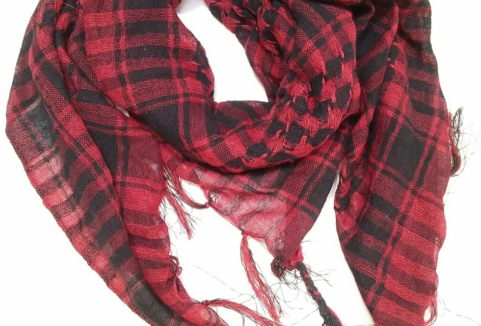 Black Plum Cotton Check Scarf