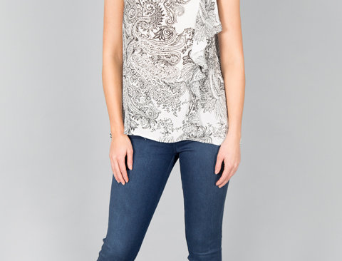 Ice Express Paisley Side Frill Top