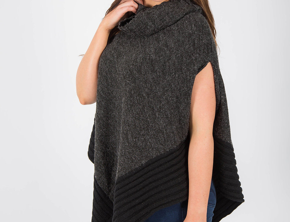 Black Plum Cowl Neck Poncho