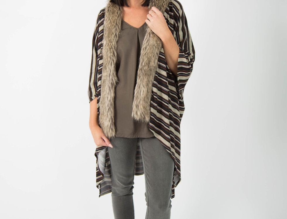Ice Express Stripe Fur Lined Poncho