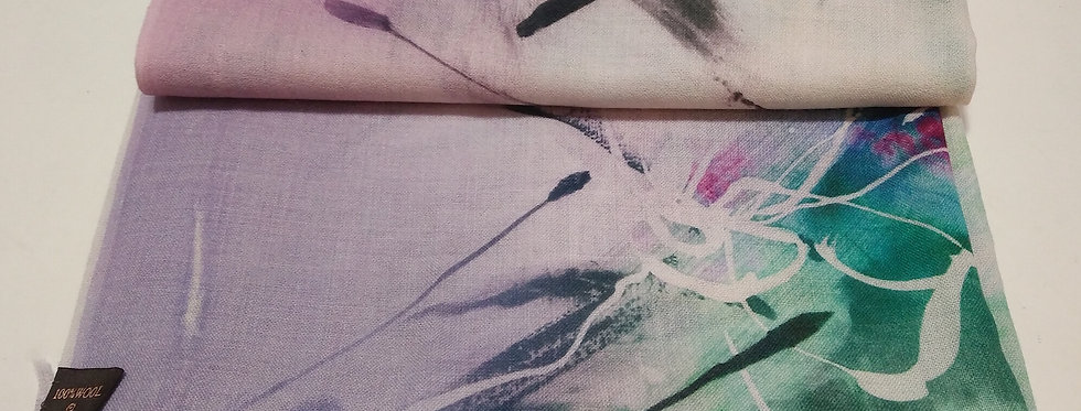 Abstract Print 100% Wool Scarf- Green
