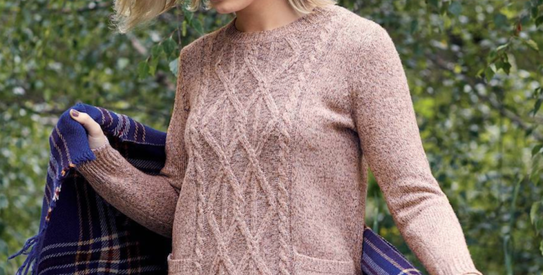 Yarra Trail Tea Rose Cable Sweater