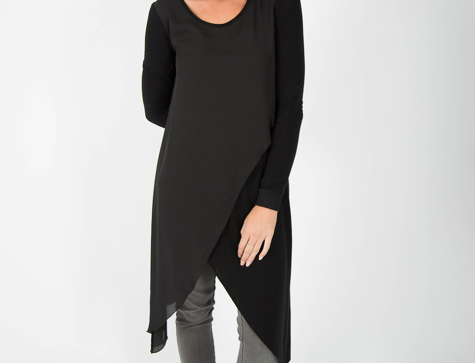 Ice Express Chiffon Wrap Asymmetric Jumper