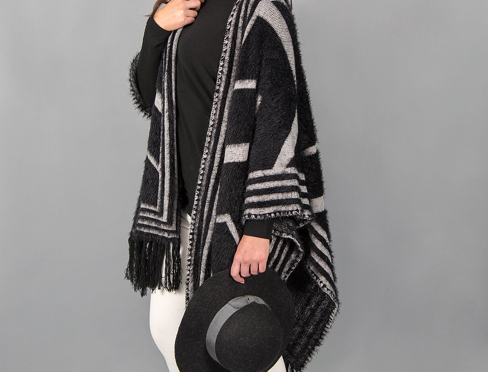 Black Plum Fluffy Textured Cape/Wrap