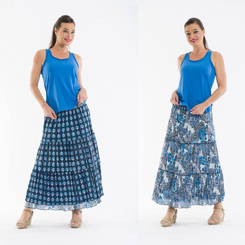 Orientique reversible long skirt