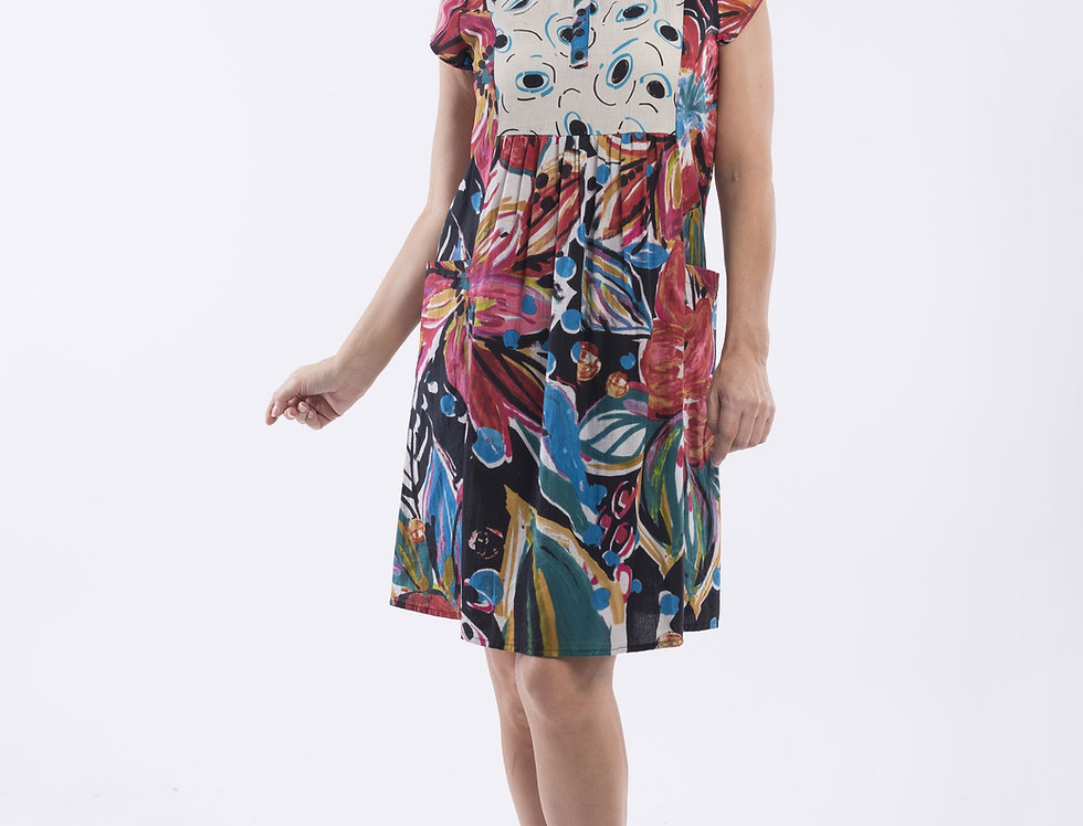 Orientique Gathered Front Pocket Dress