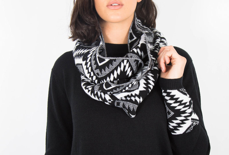 Black PlumTribal Jumper With Scarf