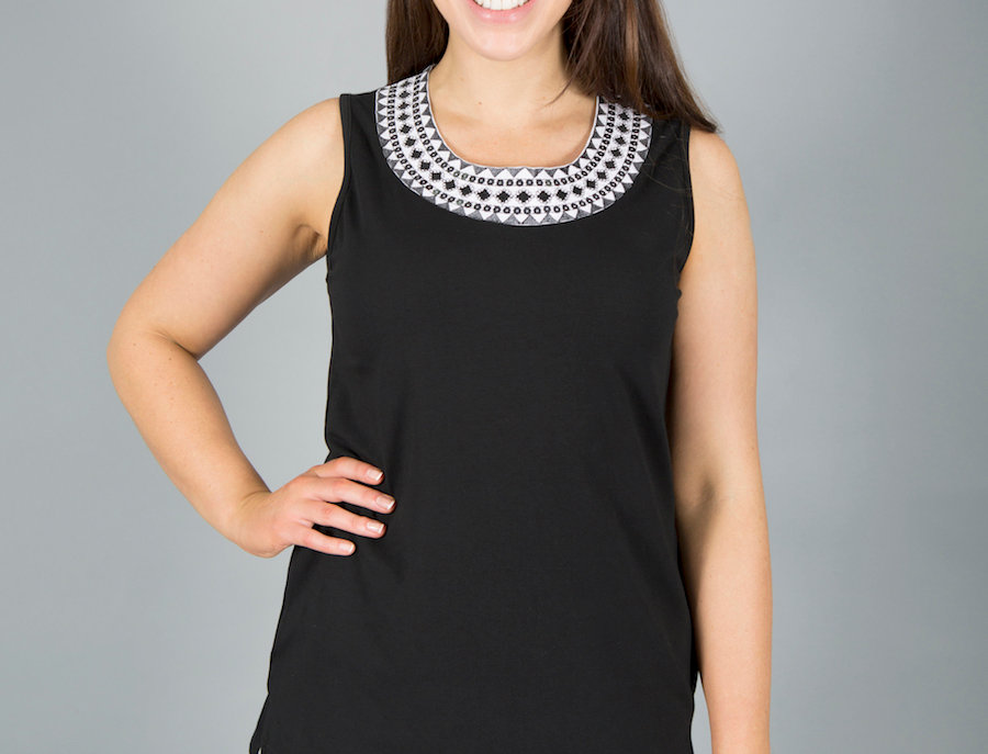Black Plum Embroidery Neckline Top