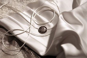 Luan by Lucia Bridal - Silver and White Fabrics whit silver branded button