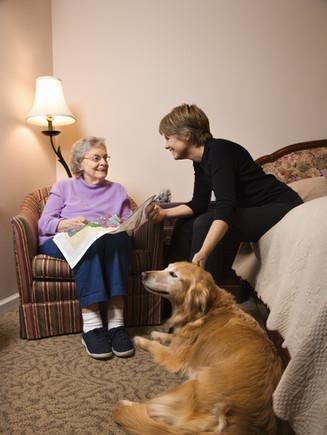 Elderly Woman in her bedroom does needle