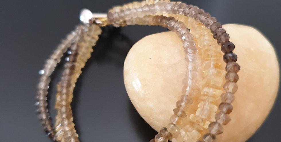 Bracelet citrine et quartz fumé