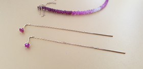 Boucles d'oreilles rubis et argent. Atelier Sôma. Outils de lithothérapie, bijoux made in france fabriqués à la main.
