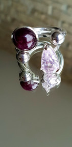 bague kunzite, bague rubis