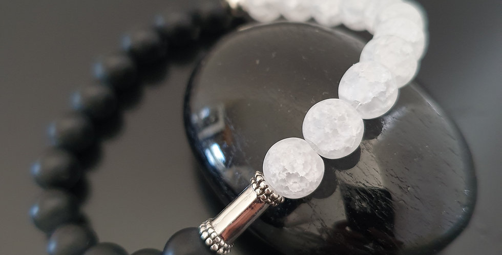 Bracelet Cristal de roche et onyx