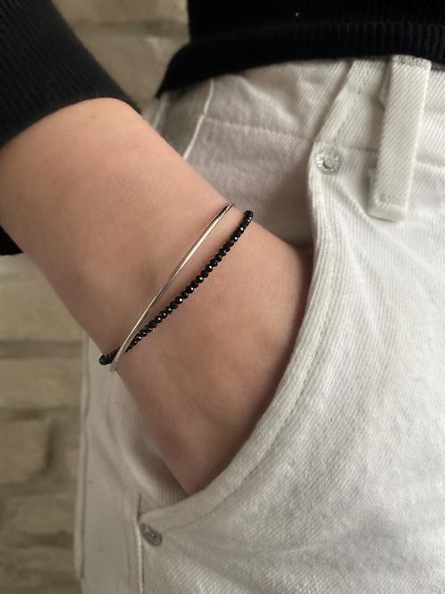 Bracelet argent et Spinelle noire