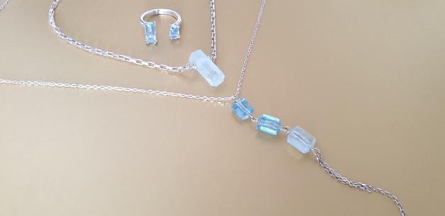 Bague, collier, sautoir, aigue marine et argent. Atelier Sôma. Outils de lithothérapie, bijoux made in france fabriqués à la main.